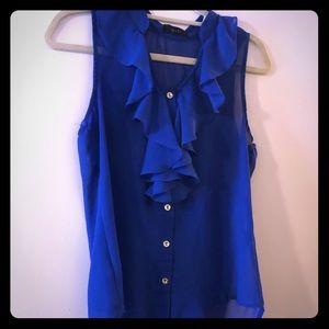 Beautiful royal blue ruffle sheer tank buttons